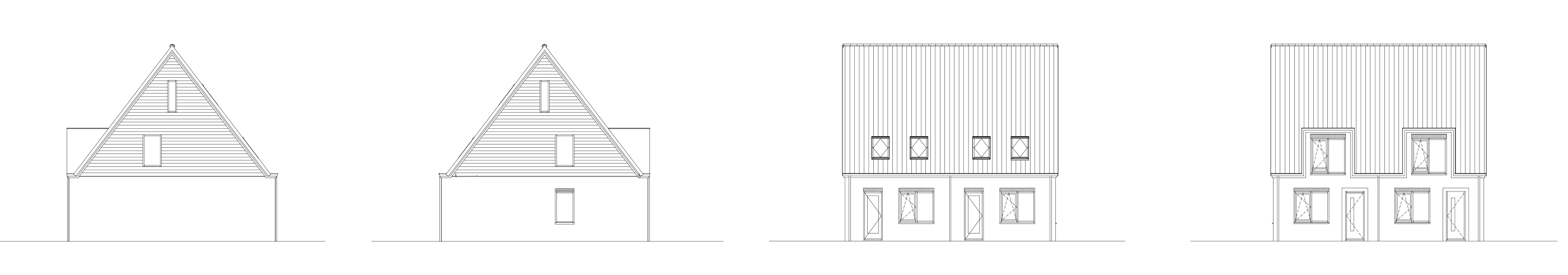 Geveltekeningen woningen blok B - Zijderlaan Polsbroek