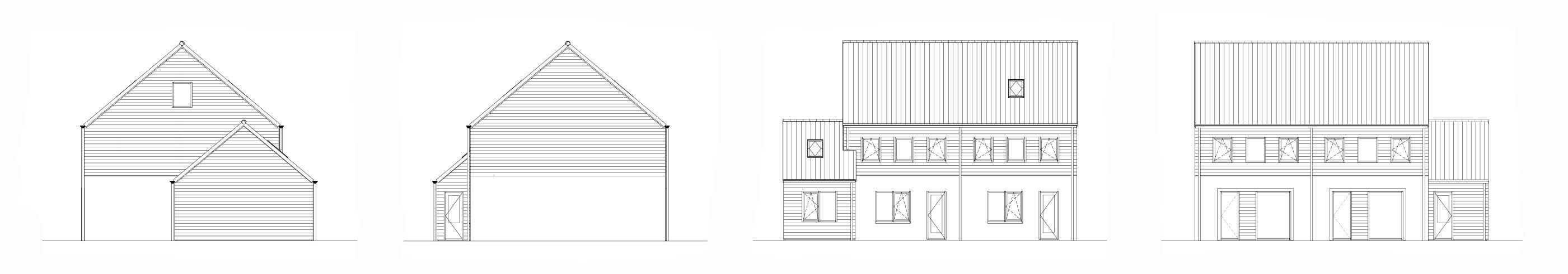 Geveltekeningen woningen blok C -Zijderlaan Polsbroek