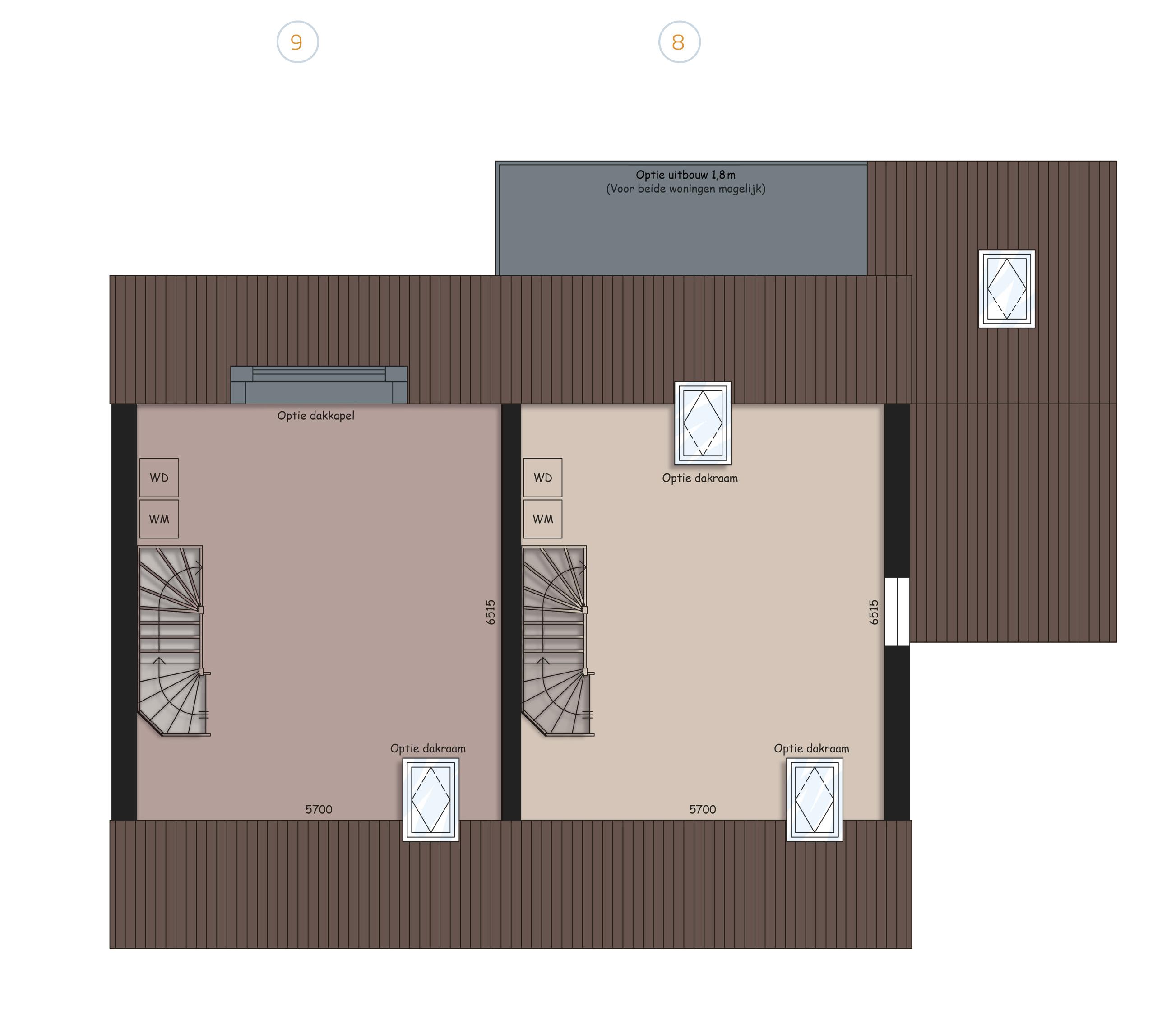 Opties 2e verdieping Blok C