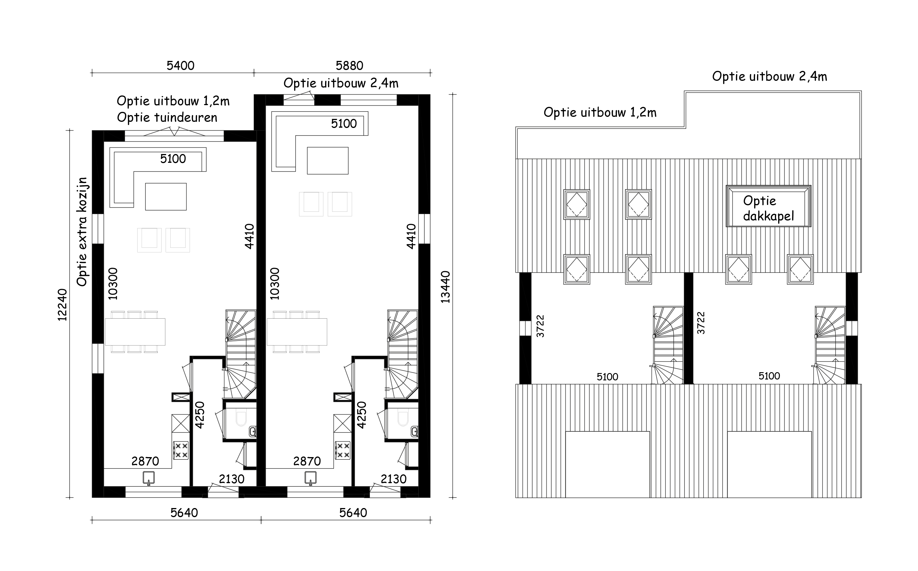 Opties bgg en 2e verdieping Blok B
